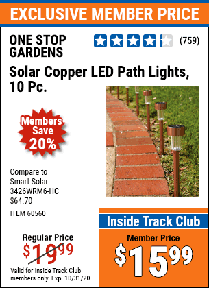 Harbor Freight 10 PIECE STAINLESS STEEL SOLAR LIGHT SET coupon
