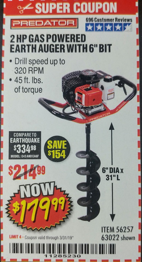 Madison : Predator gas powered earth auger reviews