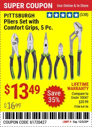 Harbor Freight 5 PIECE PLIERS SET WITH COMFORT GRIPS coupon
