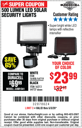 Harbor Freight 500 LUMENS LED SOLAR SECURITY LIGHT coupon