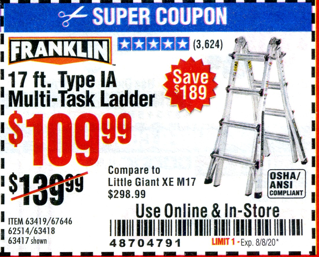 Harbor Freight 17 FOOT TYPE IA MUTI TASK LADDER coupon
