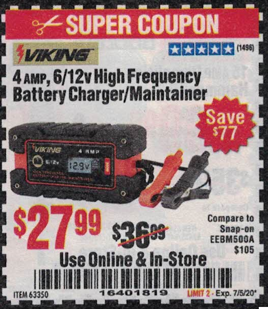 Harbor Freight 4 AMP FULLY AUTOMATIC MICROPROCESSOR CONTROLLED BATTERY CHARGER/MAINTAINER coupon