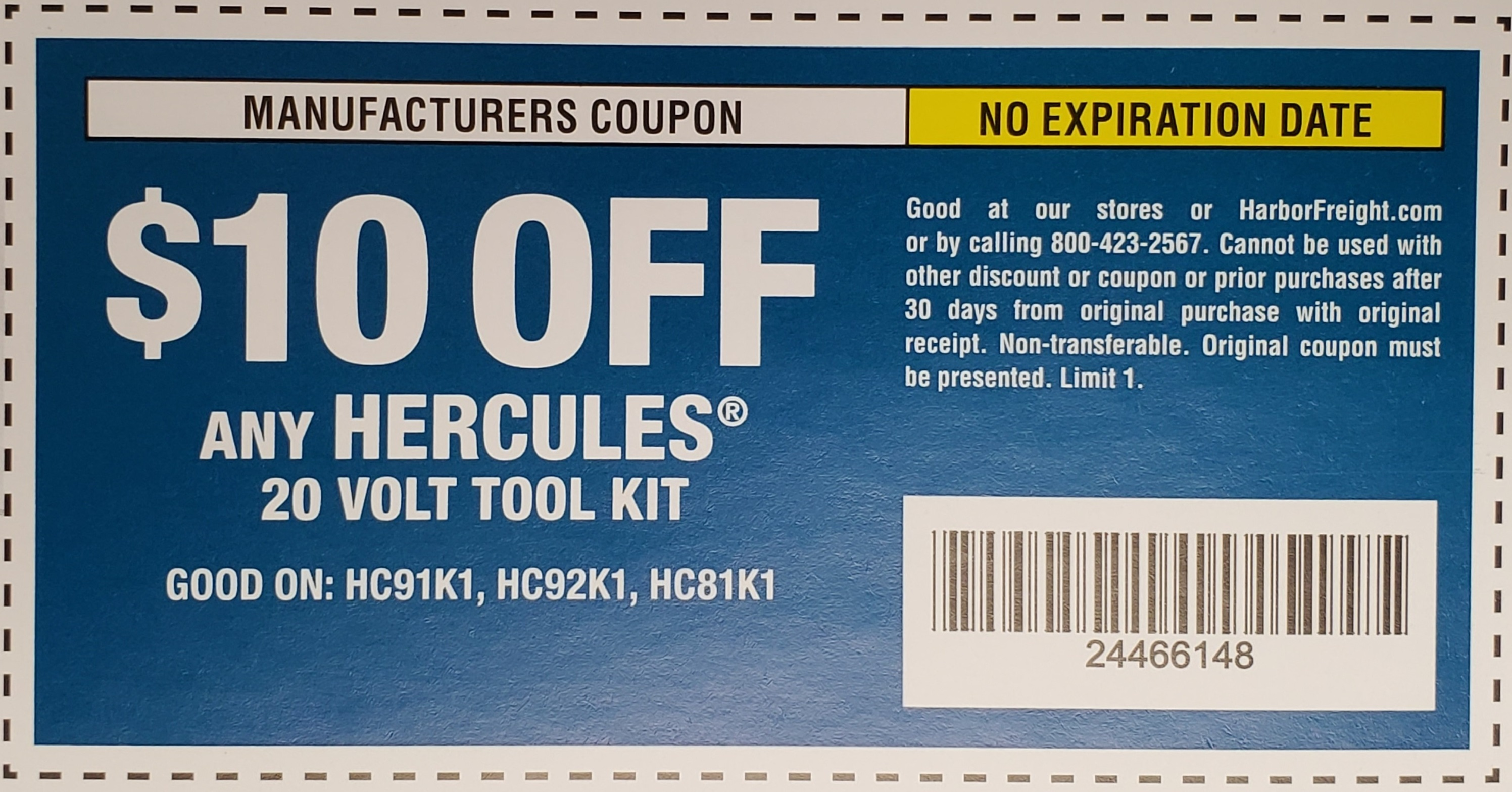 Harbor Freight HERCULES 20V TOOL KIT coupon