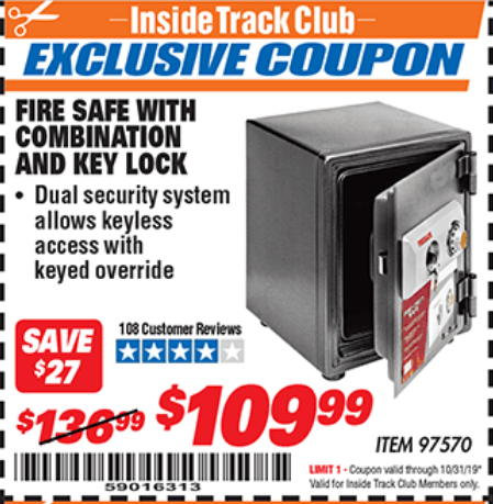 www.hfqpdb.com - FIRE SAFE WITH COMBINATION AND KEY LOCK Lot No. 97570