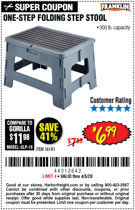 Harbor Freight FRANKLIN ONE-STEP FOLDING STEP STOOL coupon