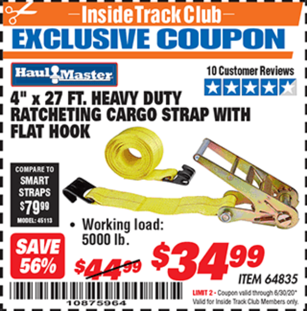 "www.hfqpdb.com - 4""X27 FT. HEAVY DUTY RATCHETING CARGO STRAP WITH FLAT HOOK  Lot No. 64835"