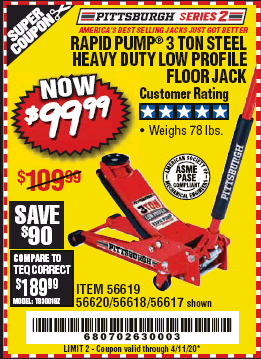Harbor Freight RAPID PUMP 3 TON STEEL HEAVY DUTY LOW PROFILE FLOOR JACK coupon