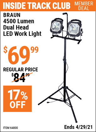 www.hfqpdb.com - 4500 LUMEN DUAL HEAD LED WORK LIGHT Lot No. 64800