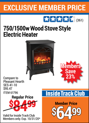 Harbor Freight 750/1500 WATT WOOD STOVE STYLE ELECTRIC HEATER coupon