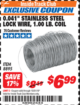"www.hfqpdb.com - 0.041"" STAINLESS STEEL LOCK WIRE, 1.00 LB. COIL Lot No. 8895"