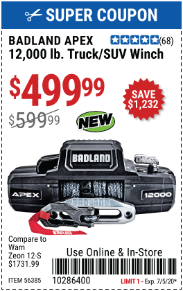 Harbor Freight BADLAND APEX 12,000 LB. TRUCK/SUV WINCH coupon