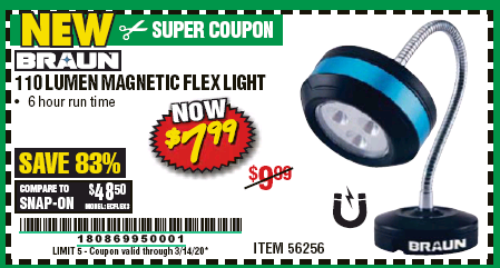 Harbor Freight BRAUN 110 LUMEN FLEXIBLE LED WORK LIGHT coupon