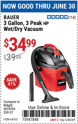Harbor Freight 3 GALLON WET/DRY VACUUM coupon