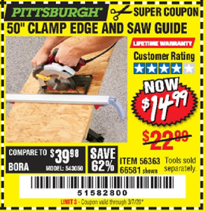 Harbor Freight 50 CLAMP EDGE AND SAW GUIDE coupon