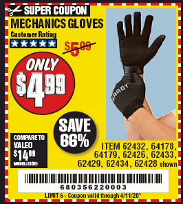 Harbor Freight MECHANICS GLOVES coupon