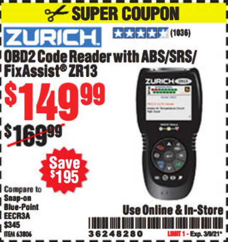 Harbor Freight OBD2 CODE READER WITH ABS/SRS/FIXASSIST ZR13 coupon