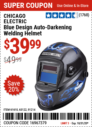 Harbor Freight CHICAGO ELECTRIC WELDING BLUE DESIGN AUTO-DARKENING WELDING HELMET coupon