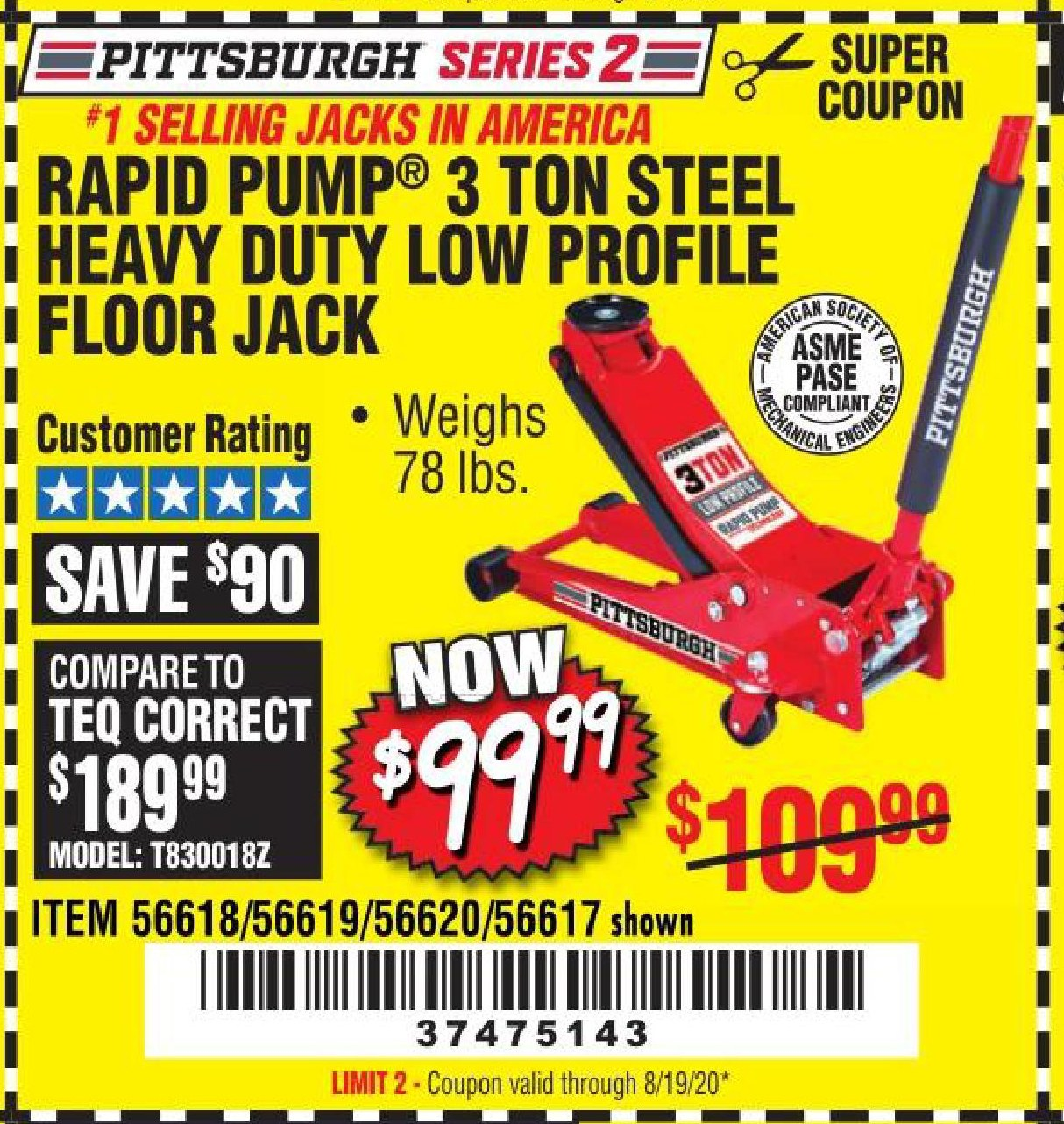 Harbor Freight HEAVY DUTY 3 TON LOW PROFILE STEEL FLOOR JACK coupon