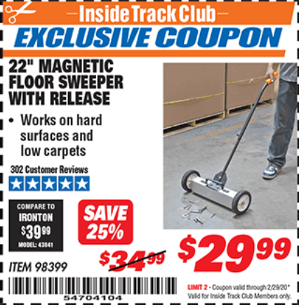 "www.hfqpdb.com - 22"" MAGNETIC FLOOR SWEEPER WITH RELEASE Lot No. 98399"