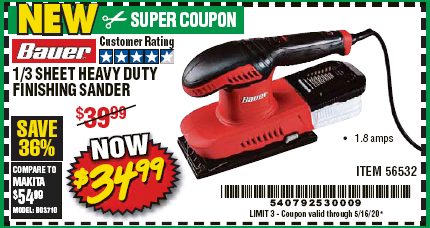 Harbor Freight BAUER 1/3 SHEET HEAVY DUTY FINISHING SANDER coupon