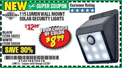 Harbor Freight 115 LUMEN WALL MOUNT SOLAR SECURITY LIGHTS coupon