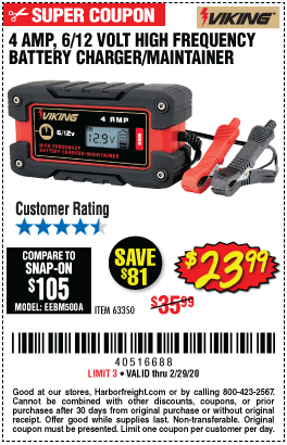 Harbor Freight 4 AMP, 6/12 VOLT HIGH FREQUENCY BATTERY CHARGER/MAINTAINER coupon