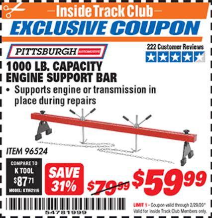 Harbor Freight 1000 LB. CAPACITY ENGINE SUPPORT BAR coupon