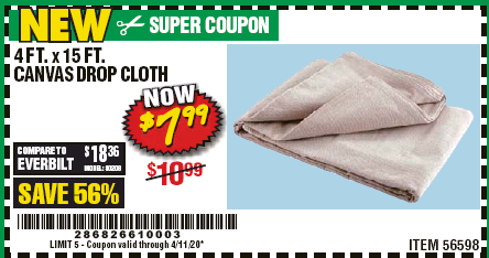 Harbor Freight 4 FT. X 15 FT. CANVAS DROP CLOTH coupon