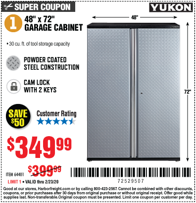 Harbor Freight YUKON 48X72 GARAGE CABINET coupon