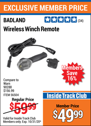 Harbor Freight BADLAND WIRELESS WINCH REMOTE  coupon