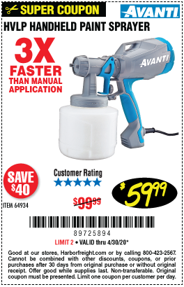 Harbor Freight HVLP HANDHELD PAINT SPRAYER coupon