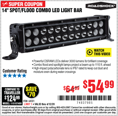 "Harbor Freight 14"" SPOT/FLOOD COMBO LED LIGHT BAR coupon"