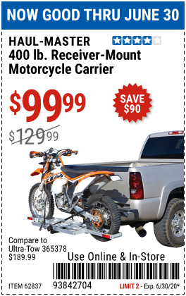 Harbor Freight 400LB RECEIVER MOUNT MOTORCYCLE CARRIER coupon