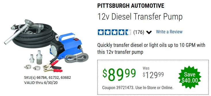Harbor Freight 12V DIESEL TRANSFER PUMP coupon