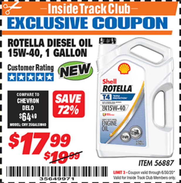 Harbor Freight ROTELLA DIESEL OIL 15W-40, 1 GALLON coupon