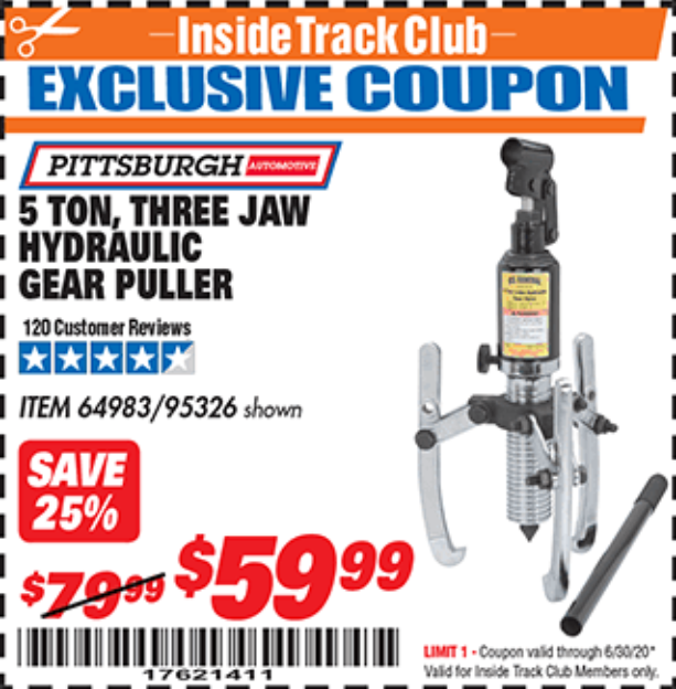 Harbor Freight 5 TON, THREE JAW HYDRAULIC GEAR PULLER coupon