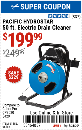 Harbor Freight $50 OFF ANY PACIFIC HYDROSTAR DRAIN CLEANER coupon