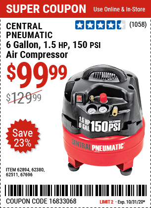 Harbor Freight 6 GALLON, 1.5 HP, 150 PSI PROFESSIONAL AIR COMPRESSOR coupon