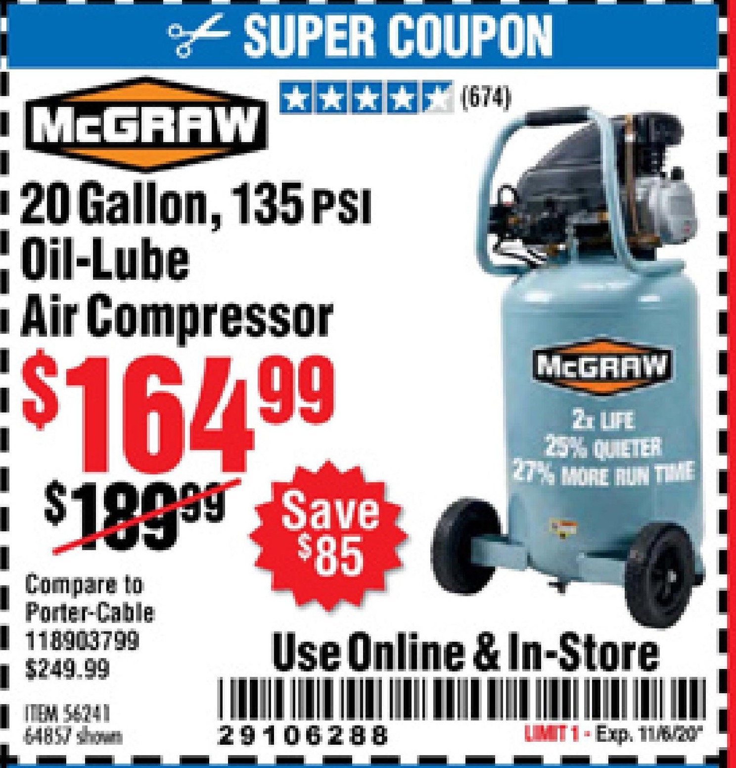 Harbor Freight 20 GALLON, 135 PSI OIL-LUBE AIR COMPRESSOR coupon