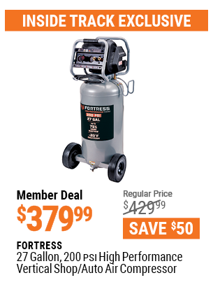 www.hfqpdb.com - FORTRESS 27 GALLON, 200PSI HIGH PERFORMANCE VERTICAL SHOP/AUTO AIR COMPRESSOR Lot No. 57254/56403