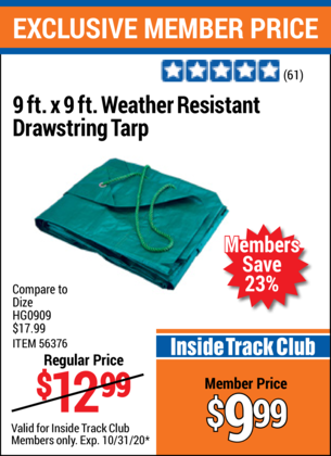 Harbor Freight 9 FT. X 9 FT. WEATHER RESISTANT DRAWSTRING TARP coupon