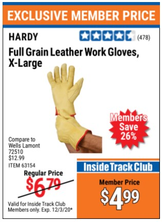 Harbor Freight HARDY FULL GRAIN LEATHER WORK GLOVES, X-LARGE  coupon