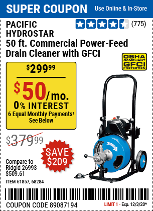 Harbor Freight PACIFIC HYDROSTAR 50FT. COMMERCIAL POWER-FEED DRAIN CLEANER WITH GFCI coupon