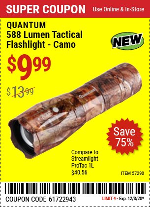 Harbor Freight QUANTUM 588 LUMEN TACTICAL FLASHLIGHT CAMO coupon