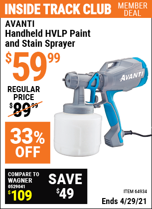 www.hfqpdb.com - AVANTI HANDHELD HVLP PAINT AND STAIN SPRAYER Lot No. 64934