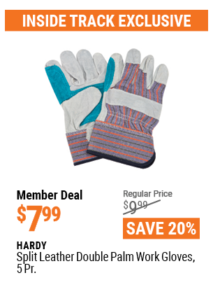 www.hfqpdb.com - HARDY SPLIT LEATHER DOUBLE PALM WORK GLOVES, 5PK Lot No. 66292