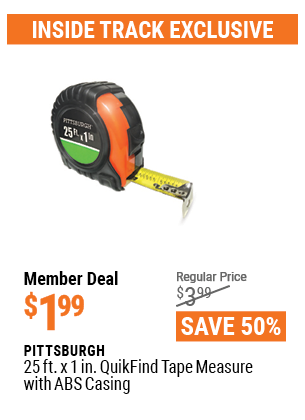 www.hfqpdb.com - PITTSBURGH 25FT. X 1IN. QUIKFIND TAPE MEASURE WITH ABS CASING Lot No. 69030