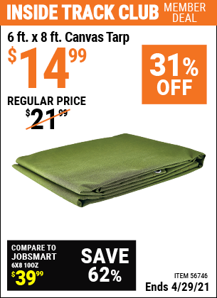 Harbor Freight 6 FT. X 8FT. CANVAS TARP coupon