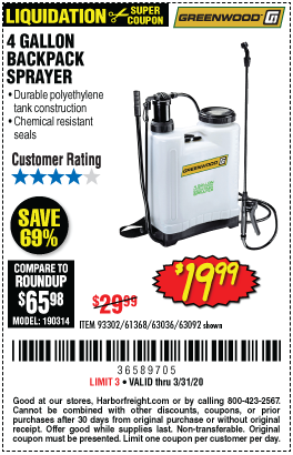 Harbor Freight 4 GALLON BACKPACK SPRAYER coupon