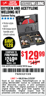 Harbor Freight OXYGEN AND ACETYLENE WELDING KIT coupon